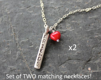 Friends necklace set - 2 necklaces w/ red glass heart & word charm on sterling silver chains - for you and your BFF -Free Shipping USA
