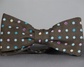 Multicolored Dots on Chocolate  Bow Tie - Special Deal