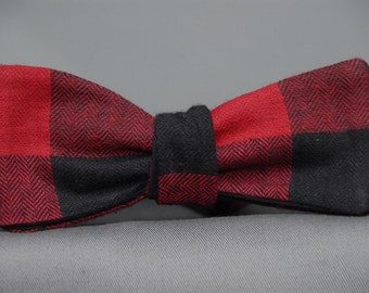 Giant Red and Black Lumberjack Flannel  Bow Tie