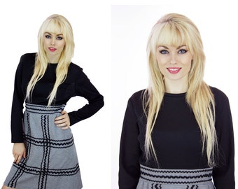 Mod A-line Dress Black & Gray Rick Rack Trim Perfect Fall Dress Mad Men Sixties Twiggy 70s Retro 1960s Medium M