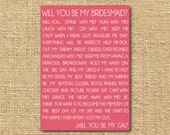 Printable Will you be my bridesmaid Card- pick your color