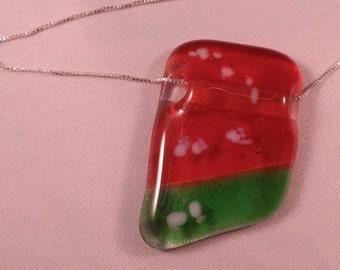 Translucent Orange and Green Fused Glass Pendant