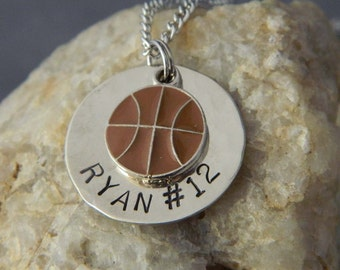 Personalized Name and Numer Basketball Necklace
