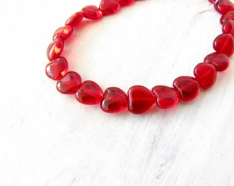 Red Heart Beads Clear Red 6 mm bracelet necklace earring bead jewelry supply