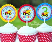 Dump Truck Cupcake Toppers, Dump Truck Birthday Party - Set of 12