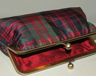 Silk Tartan Clan Check/Plaid Clutch/Purse/Bag/Garter and wrap made to match..Ready To Ship..It's a Celtic Wedding..Free Monogram