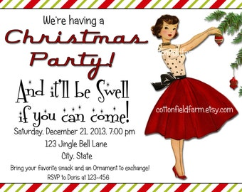 Retro Christmas Lady With Ornament Party Invitation Digital Printable Personalized C-501