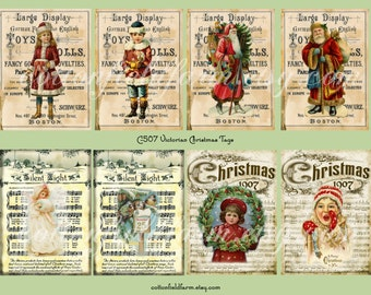 Victorian Christmas Tags Digital Sheet C-507  for Cards, Tags, Scrapbooking