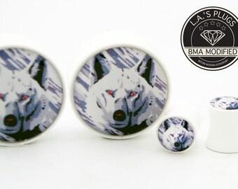 "7/16"" (11mm) White Wolf BMA Plugs Pair"