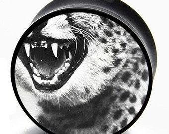 0g (8mm) Grunge Leopard Fangs BMA Plugs Single Flare Pair