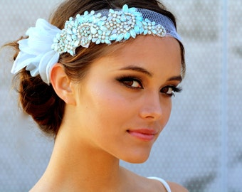 Painted Crystal Mini Hair Bandeau- Minty
