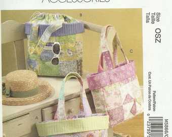 MCCALLS PATTERN M5866, quilted tote bags and purses, new and uncut