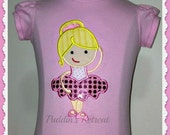 Girls Personalized Ballerina Appliqued tee T-shirt