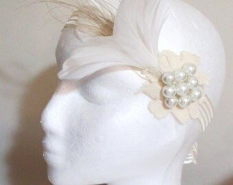 White and cream fascinator feather flower headband lace and pearl bridal hairpiece ribbon bow beaded hairpiece -Sugared Almonds Hairpiece