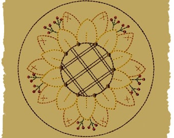 Primitive Machine Embroidery Design-Sunflower Candle Mat-4 Inch-Version 2--INSTANT DOWNLOAD