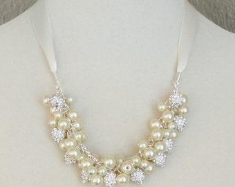 BRIDES GIFT Ivory Pearl Cluster & Rhinestone WEDDING Bridal Necklace By DYEnamite