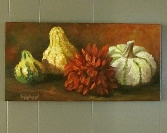 Still Life Oil Painting, Gourds With Red Zinnia , Original Canvas Art by Cheri Wollenberg