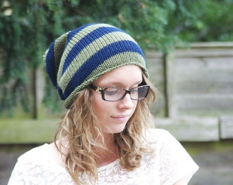 On Sale Slouchy Hat, Knitted, Pompom Hat, Navy and Khaki