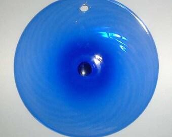 Pairpoint Glass Rondell Suncatcher Ornament - Vintage Hand Blown Blue Swirl