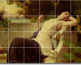 S-M-L-XL Custom Ceramic Women Painting Tile Mural. An Afternoon Rest By Guillaume Seignac