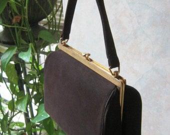 Vintage Small boxy bag, dark brown suede Kelly style handbag, Kelly style Block handbag