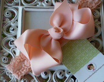 NEW----Boutique Baby Toddler Girl Hair Bow Clip with Lace Headband----Peach----