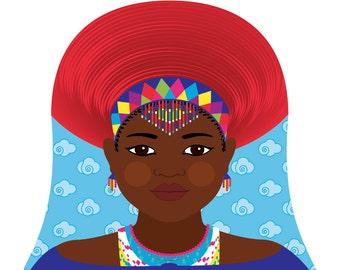 Zulu, South African Wall Art Print featuring cultural dress drawn in a Russian matryoshka nesting doll shape