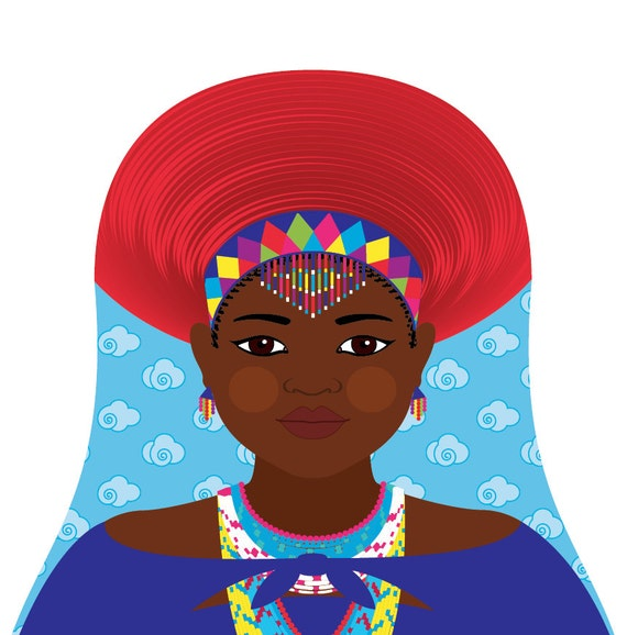 Zulu, South African Wall Art Print featuring cultural dress drawn in a Russian matryoshka nesting doll shape