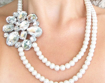 Bridal Necklace Wedding Necklace Bridal Jewelry Pearl Rhinestone Necklace Wedding Jewelry Bib Necklace