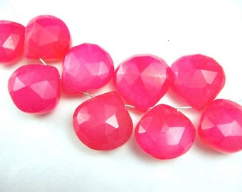 Hot Pink CHALCEDONY Briolette Beads 6 PCS Heart Faceted Gemstones,10-11 mm, FOCALS for Pendants,Great for Brides