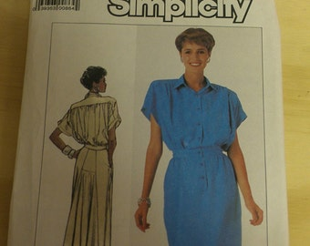 Button Front Dress Back godet adapt to 1930s 1940s styling 8 10 12 Simplicity 7942