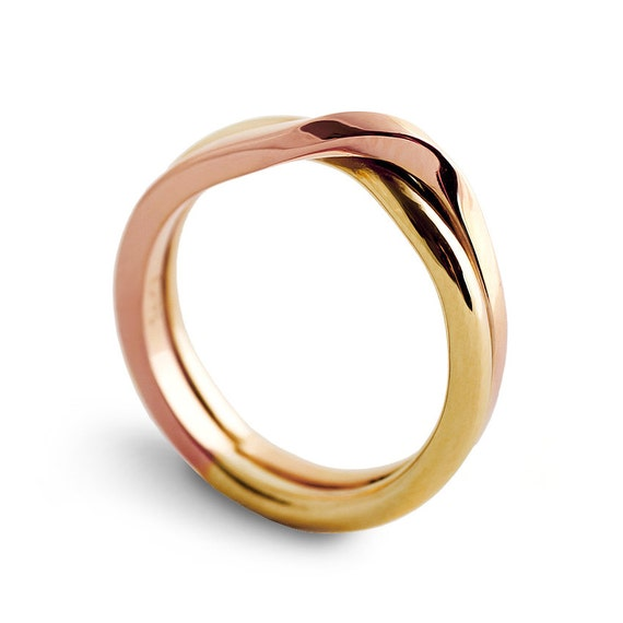 LOVE KNOT Rose and Yellow gold wedding band for men, unique wedding ring, alternative two tone womens wedding ring