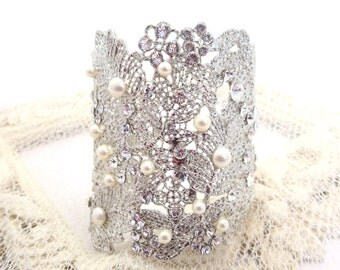 Bridal cuff bracelet, crystal and pearl bracelet, filigree cuff bracelet, wedding jewelry, statement bracelet