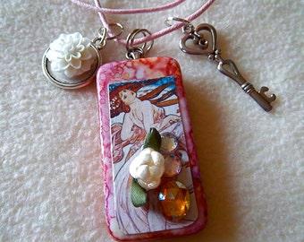 Dominoe pendant necklace Art Nouveau woman silver key burgundy ink No 84