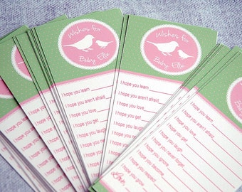 Spring Baby Girl Wish Cards, Pink + Green Shabby Chic Wishes for Baby Girl, Baby Wishes, Baby Shower Wishes, Well Wishes for Baby Wish Cards