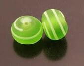 Etched Sea Glass Handmade Glass Lampwork Light Green Spiral Line Rondelle Earring Pair Heather Behrendt BHV SRA LETeam