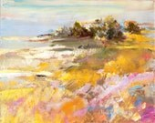 Sea Path, an original painting of a colorful zig zag  landscape leading to the sea