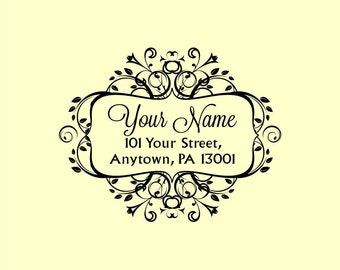 Custom Made Wedding Address Rubber Stamp Personalized Name R107 option to purchase digital file only