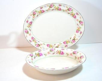 Crooksville China Company Platter And Oval Bowl