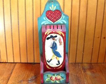 Folk Art - Tole Painted - Knife Holder - Wall Box