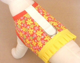 Orange And Yellow Flower Dog Harness Vest