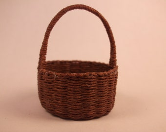 Miniature hand woven harvest basket with handle, 1/12th scale, made to order