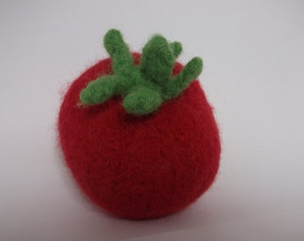 Knitted tomato, felted tomato, wool veggie, play food tomato, made to order
