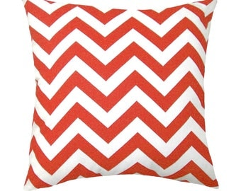 Orange Chevron Throw Pillow - Zig Zag Tangelo Orange Decorative Throw Pillow Free Shipping