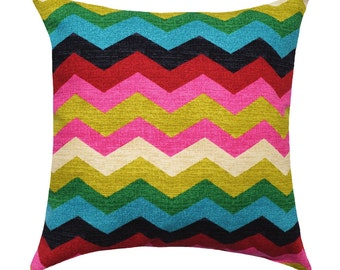 Panama Wave Desert Flower STUFFED Decorative Throw Pillow, Hot Pink, Red, Black Turquoise Chevron Throw Pillow, Pink Accent Pillow Free Ship