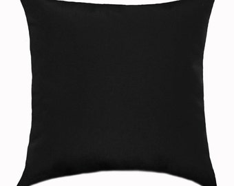 Captivating Black Solid Outdoor STUFFED Throw Pillow, Fresco Black Outdoor Decorative  Pillow, Black Patio Pillow