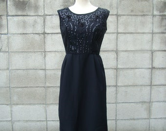 Dress 1950s Black Beaded Sequins