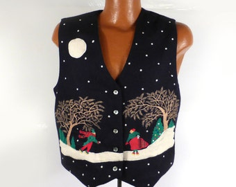 Ugly Christmas Sweater Vintage Cardigan Vest Snow Scene M