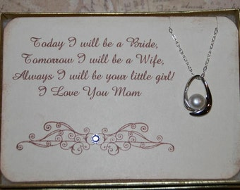 Mother of the Bride Card with Pearl Necklace Gift,  Gift for Mom, Thank You to Mom,  Thank You to Mother of the Bride, Mothers Day Gift