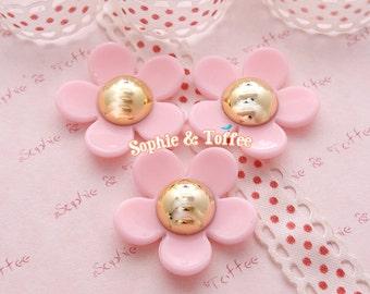 24mm Pink Daisy Flower Cabochon Kawaii Decoden 6pcs